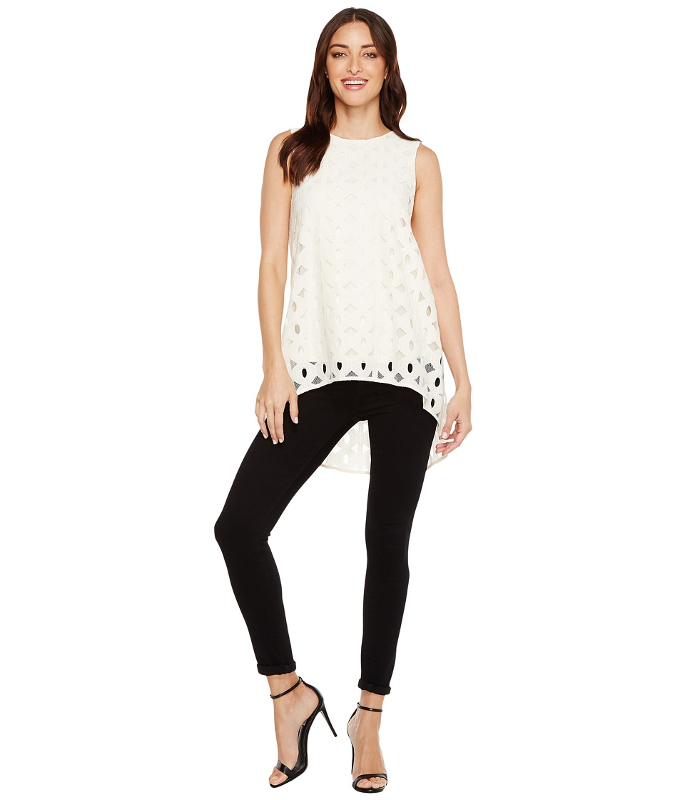Vince Camuto - Sleeveless Cable Lace High-Low Hem Blouse (Antique White) Women's Blouse
