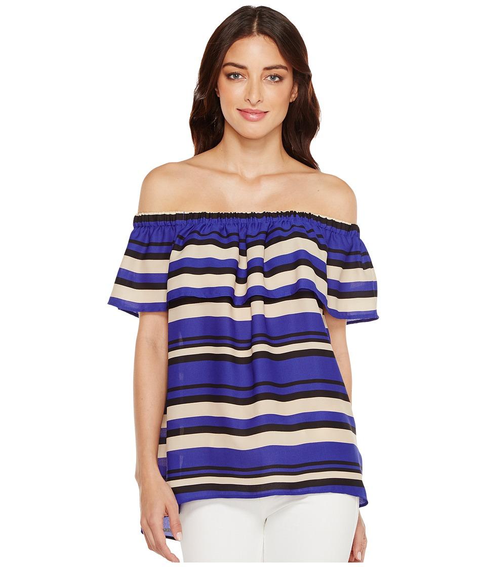 Vince Camuto - Kalari Stripe Ruffle Off Shoulder Blouse (Nile Blue) Women's Blouse
