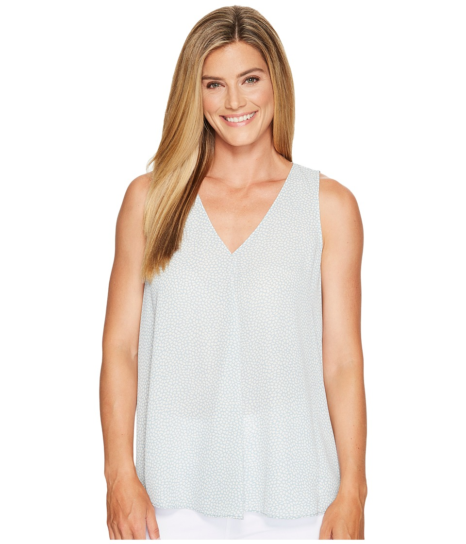 Vince Camuto - Sleeveless Zen Pebbles V-Neck Drape Front Blouse (Aqua Sphere) Women's Blouse