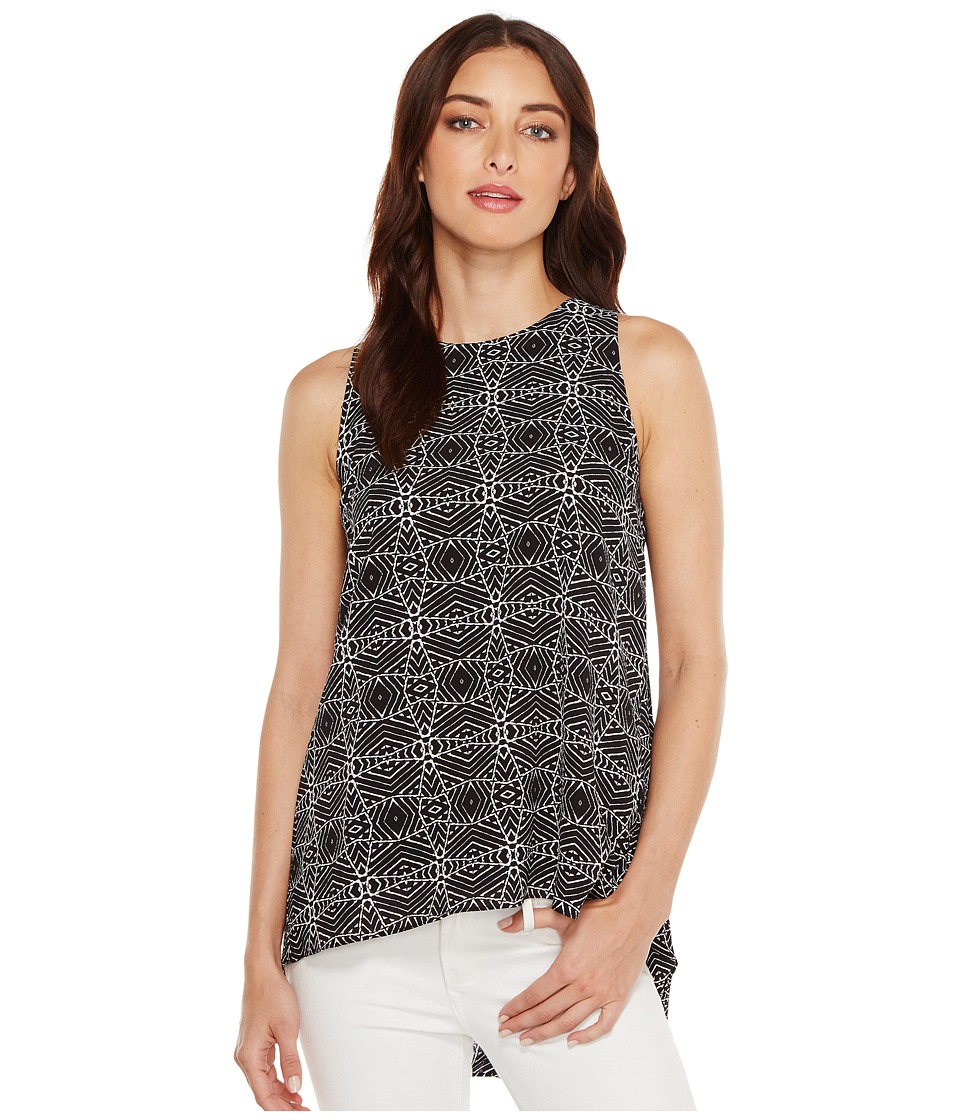 Vince Camuto - Sleeveless Yoruba Graphic High-Low Hem Blouse (Rich Black) Women's Blouse