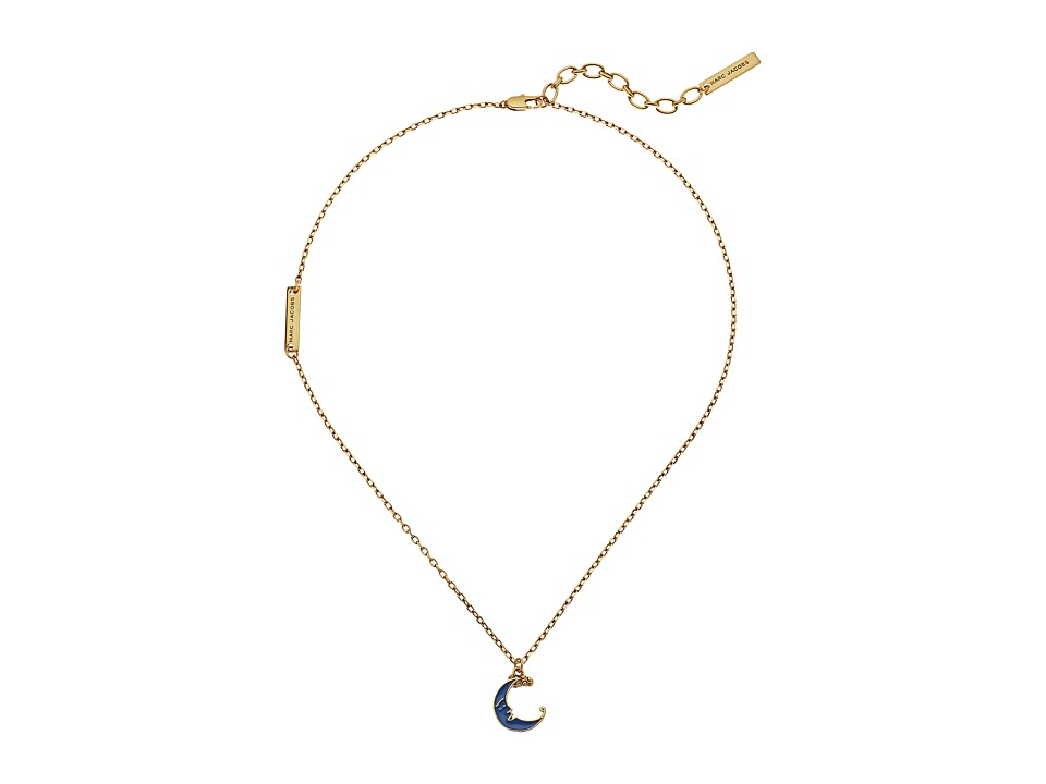 Marc Jacobs - Charms Wonderland Enamel Moon Pendant Necklace (Blue Multi) Necklace