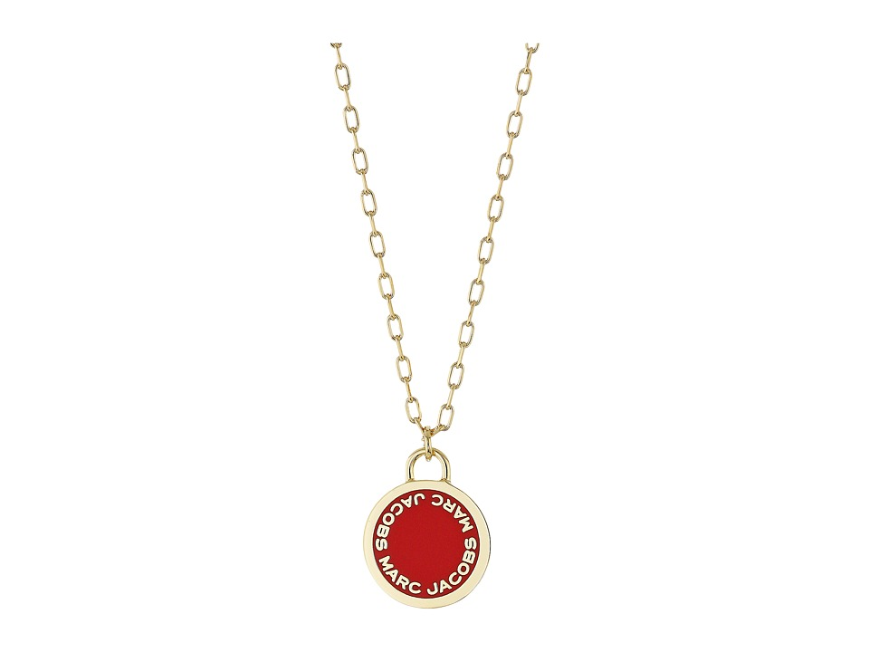 Marc Jacobs - Logo Disc Enamel Logo Disc Pendant Necklace (Red) Necklace