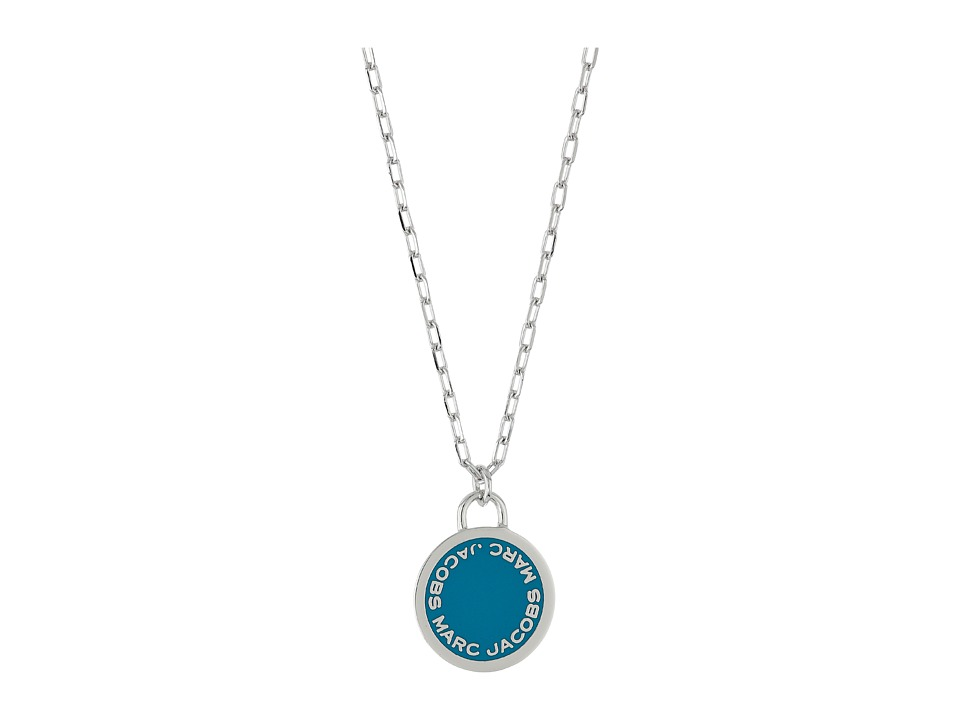 Marc Jacobs - Logo Disc Enamel Logo Disc Pendant Necklace (Blue) Necklace