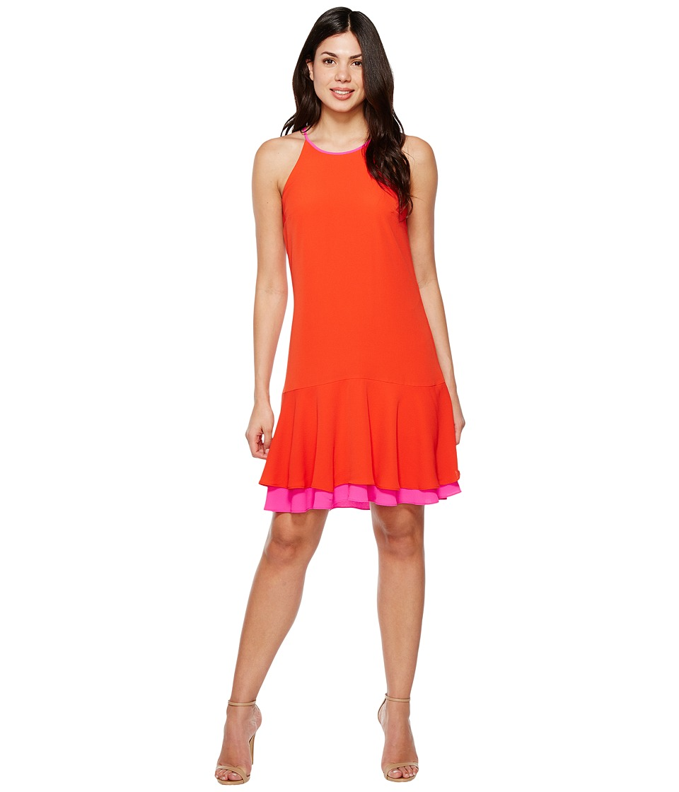 Vince Camuto - Sleeveless Halter Color Blocked Ruffle Hem Dress (Red Hot) Women's Dress