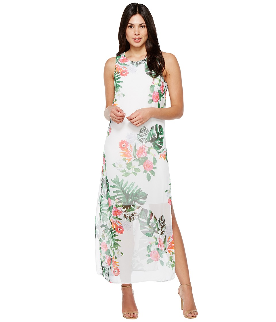 Vince Camuto - Sleeveless Havana Tropical Maxi Dress w/ Slits (Ultra White) Women's Dress