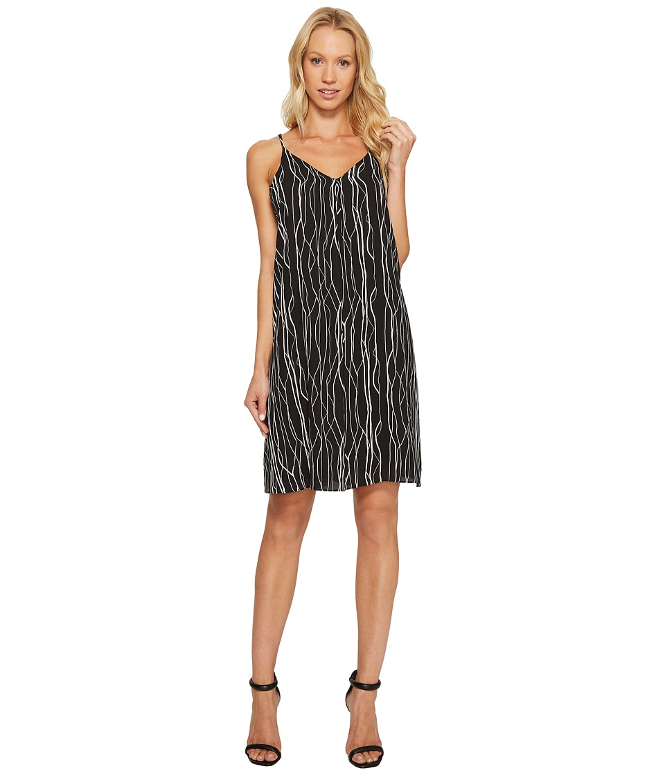 Vince Camuto - Electric Lines Tank Dress w/ Invert Pleat (Rich Black) Women's Dress