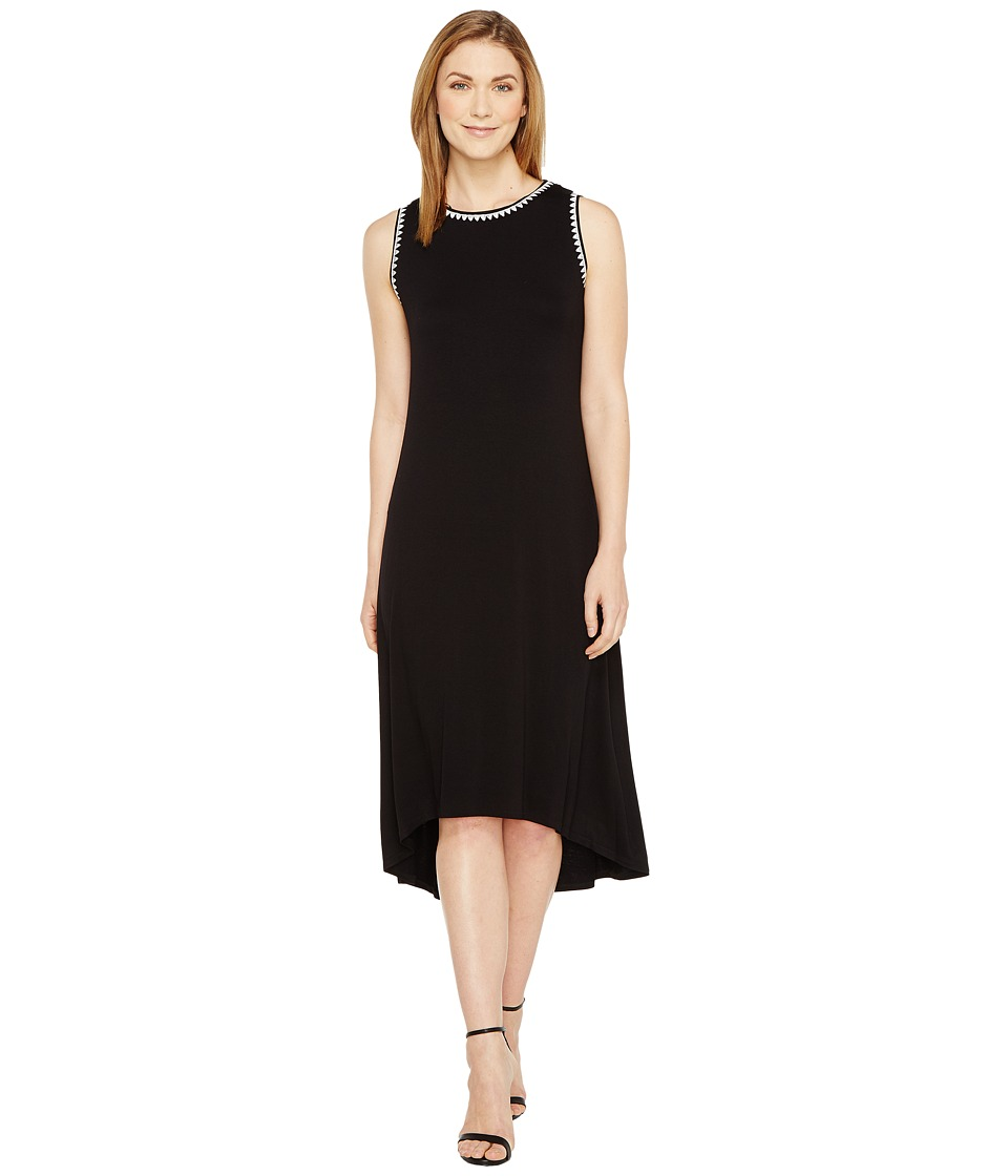 Vince Camuto - Sleeveless High-Low Hem Dress with Embroidered Neck/Armhole (Rich Black) Women's Dress