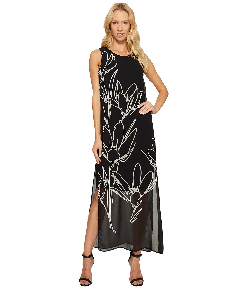Vince Camuto - Sleeveless Fluent Cluster Overlay Maxi Dress (Rich Black) Women's Dress
