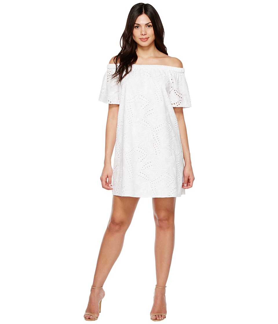Vince Camuto Short Sleeve Off Shoulder Eyelet Dress