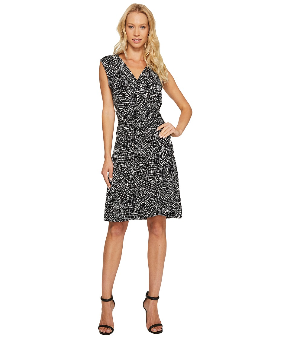 Vince Camuto - Sleeveless Modern Mosaic Belted Wrap Dress (Rich Black) Women's Dress