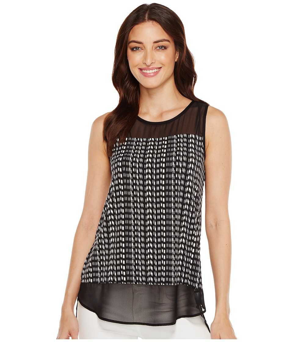 Vince Camuto - Sleeveless Sahara Tracks Chiffon Mix Media Top (Rich Black) Women's Sleeveless