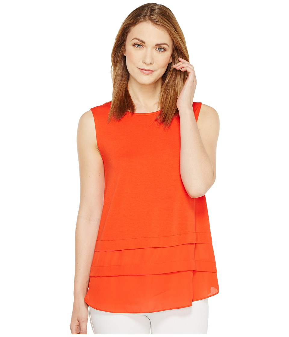 Vince Camuto - Sleeveless Mix Media Layered Top (Red Hot) Women's Sleeveless