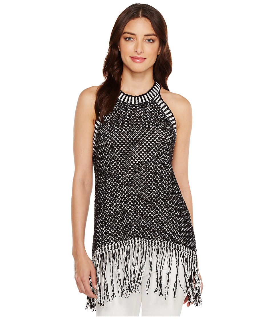 Vince Camuto - Sleeveless Texture Stitch Halter Fringe Hem Sweater (Rich Black) Women's Sweater