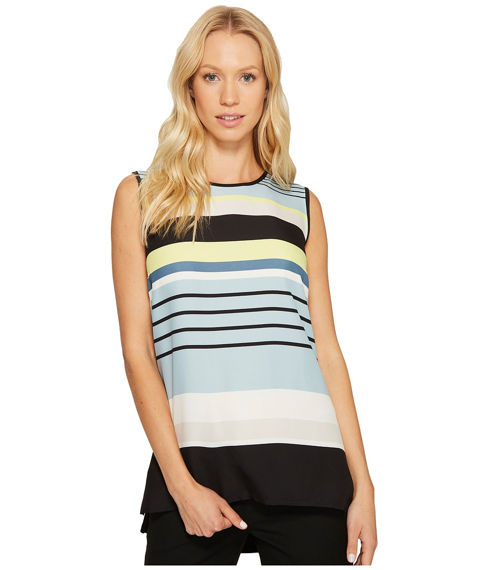 Vince Camuto - Sleeveless Stripe Harmony Knit Back Top (Aqua Sphere) Women's Sleeveless