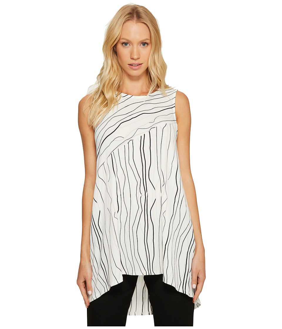 Vince Camuto - Sleeveless Electric Lines High-Low Hem Top (New Ivory) Women's Sleeveless