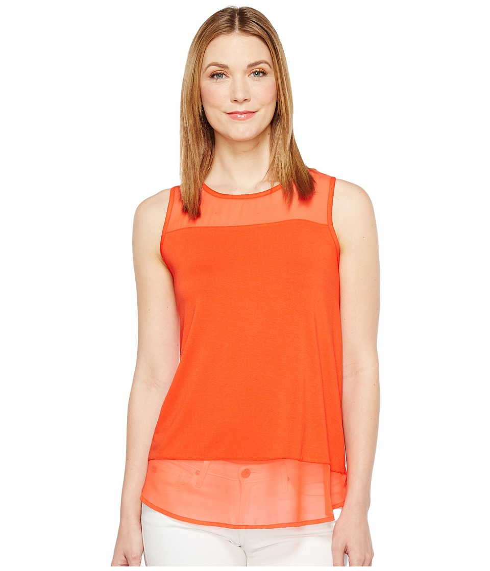 Vince Camuto - Sleeveless Top w/ Poly Chiffon Yoke and Hem (Red Hot) Women's Sleeveless