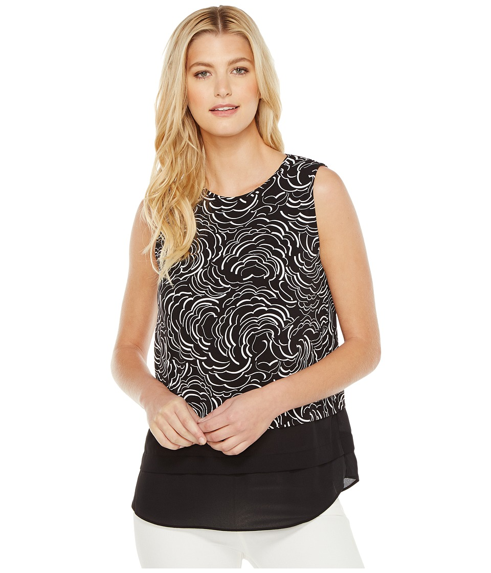 Vince Camuto - Sleeveless Graphic Ribbons Mix Media Layered Top (Rich Black) Women's Sleeveless