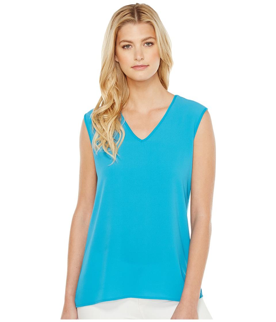 Vince Camuto - Extend Shoulder V-Neck Mix Media Textured Top (Havana Blue) Women's Clothing