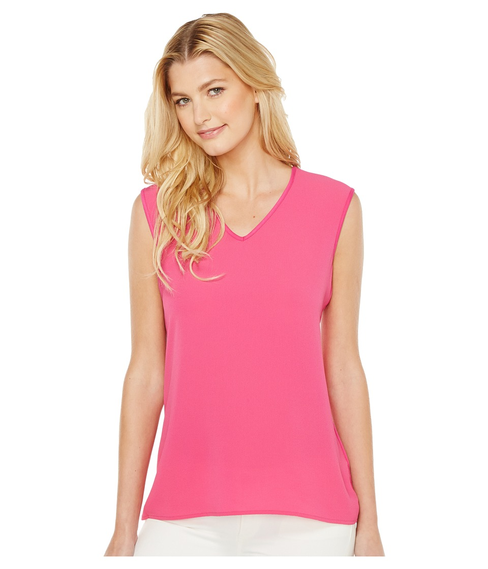 Vince Camuto - Extend Shoulder V-Neck Mix Media Textured Top (Festive Pink) Women's Clothing