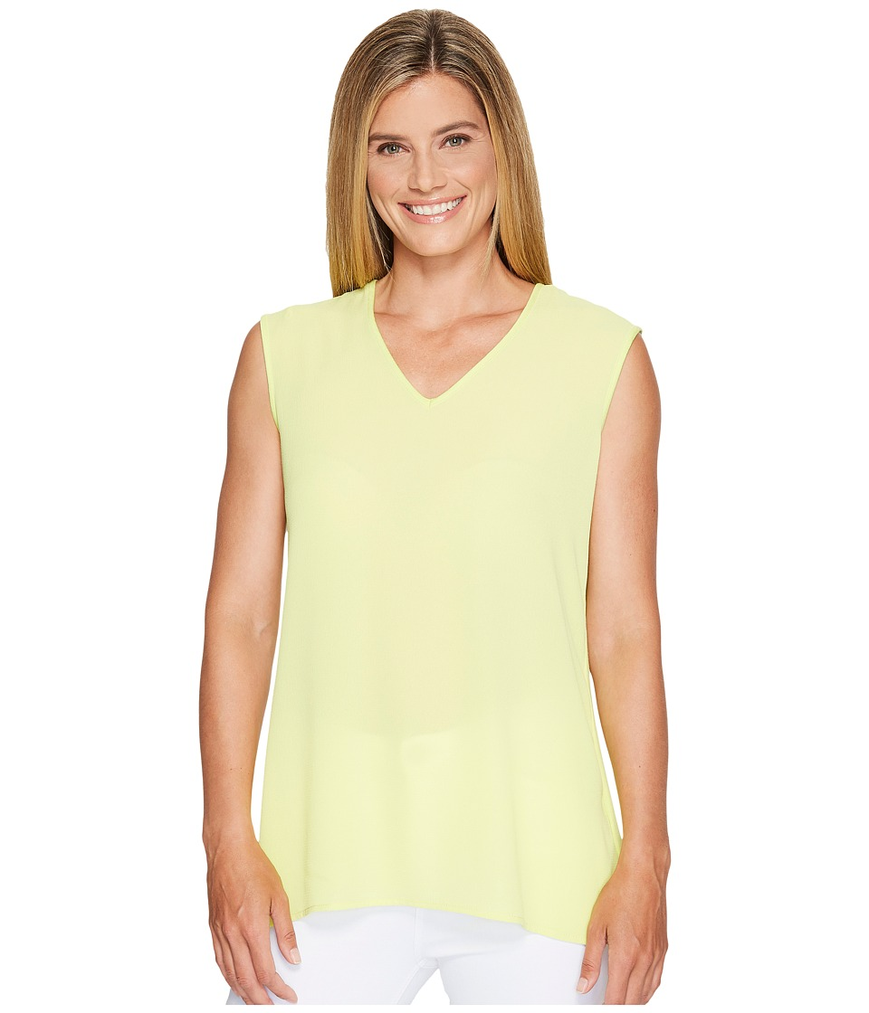 Vince Camuto - Extend Shoulder V-Neck Mix Media Textured Top (Key Lime) Women's Clothing