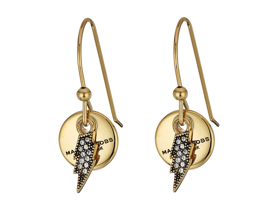 Marc Jacobs - MJ Coin Lightning Earrings (Crystal/Gold) Earring