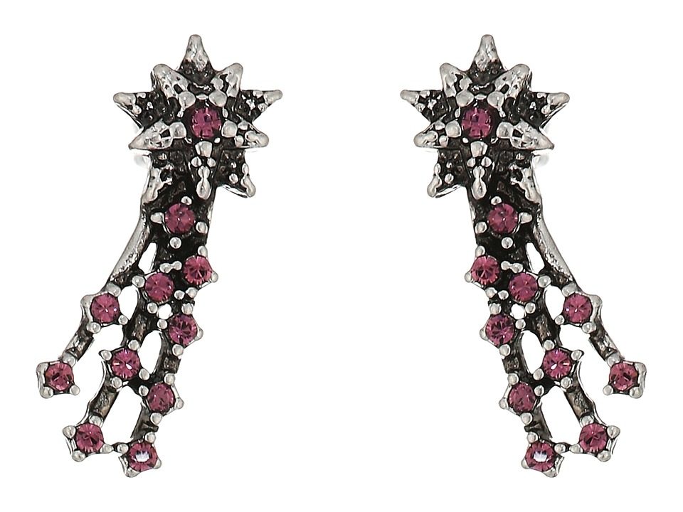 Marc Jacobs - Charms Celestial Crystal Shooting Star Studs Earrings (Amethyst/Antique Silver) Earring