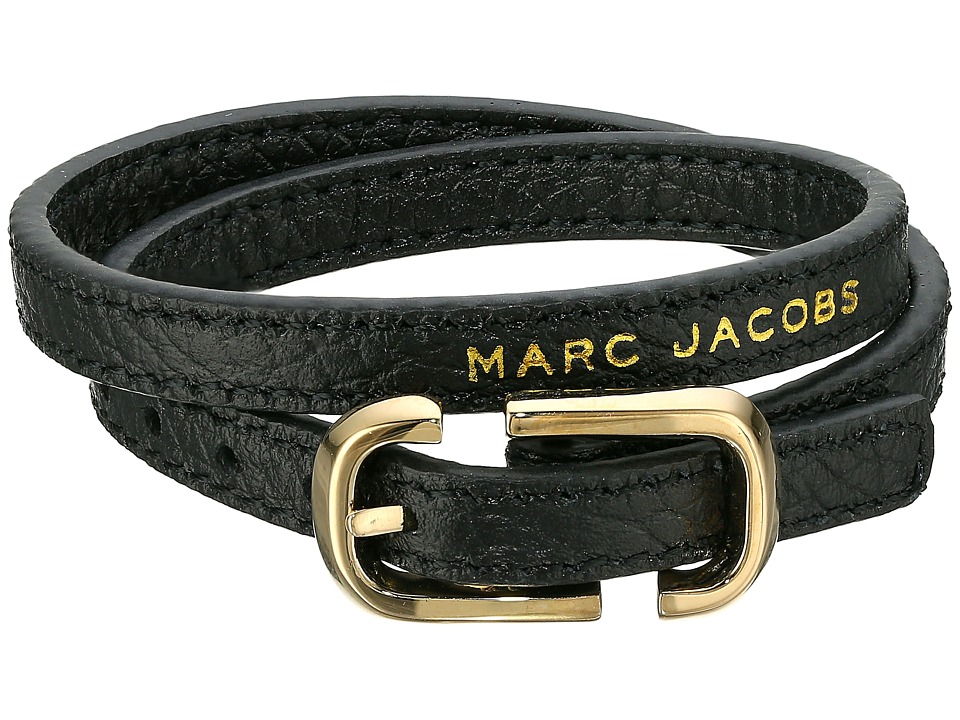 Marc Jacobs - Icon Buckle Double Wrap Leather Bracelet (Black) Bracelet