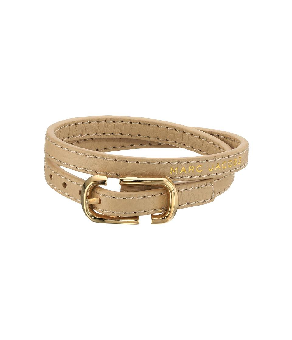 Marc Jacobs - Icon Buckle Double Wrap Leather Bracelet (Antique Beige) Bracelet