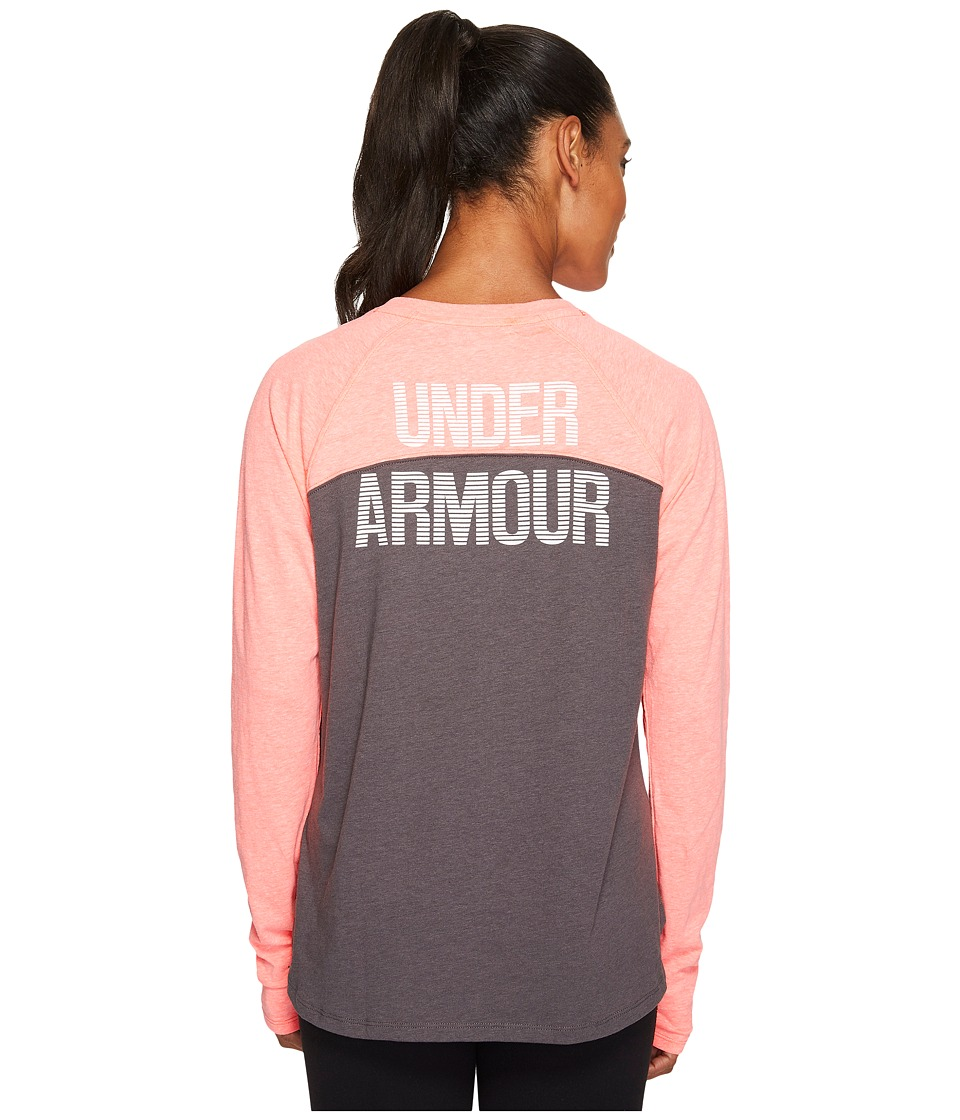 Under Armour - Graphic Tri-Blend Long Sleeve (Marathon Red Light Heather/Carbon Heather/White) Women's Clothing