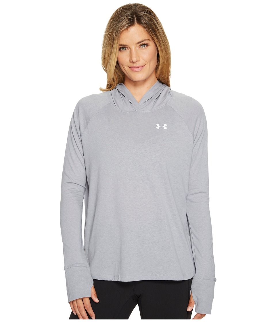 Under Armour Long Sleeve T-Shirt Hoodie (True Gray Heather/Graphite) Women