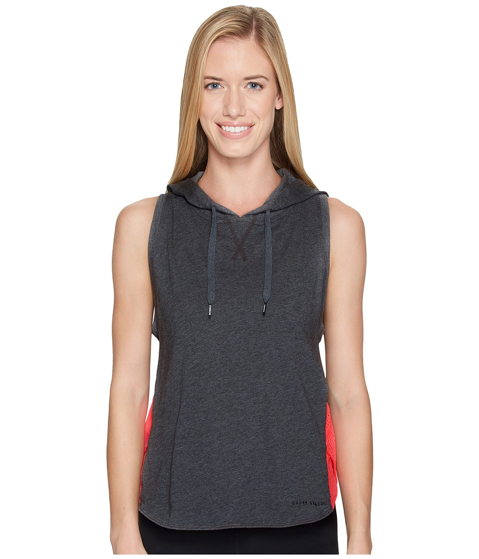 Under Armour Favorite Mesh Sleeveless Hoodie (Carbon Heather/Marathon Red/Black) Women