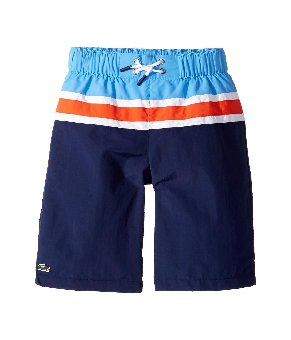 Lacoste Kids - Color Block Stripe Swimsuit (Little Kids/Big Kids) (Penumbra/White/Salsa Red/Columbine) Boy's Swimwear