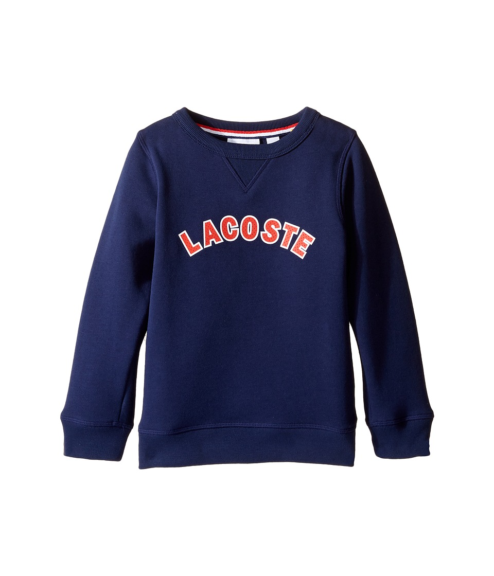 Lacoste Kids - Crew Neck Fleece w/ Logo (Toddler/Little Kids/Big Kids) (Penumbra) Boy's Sweatshirt