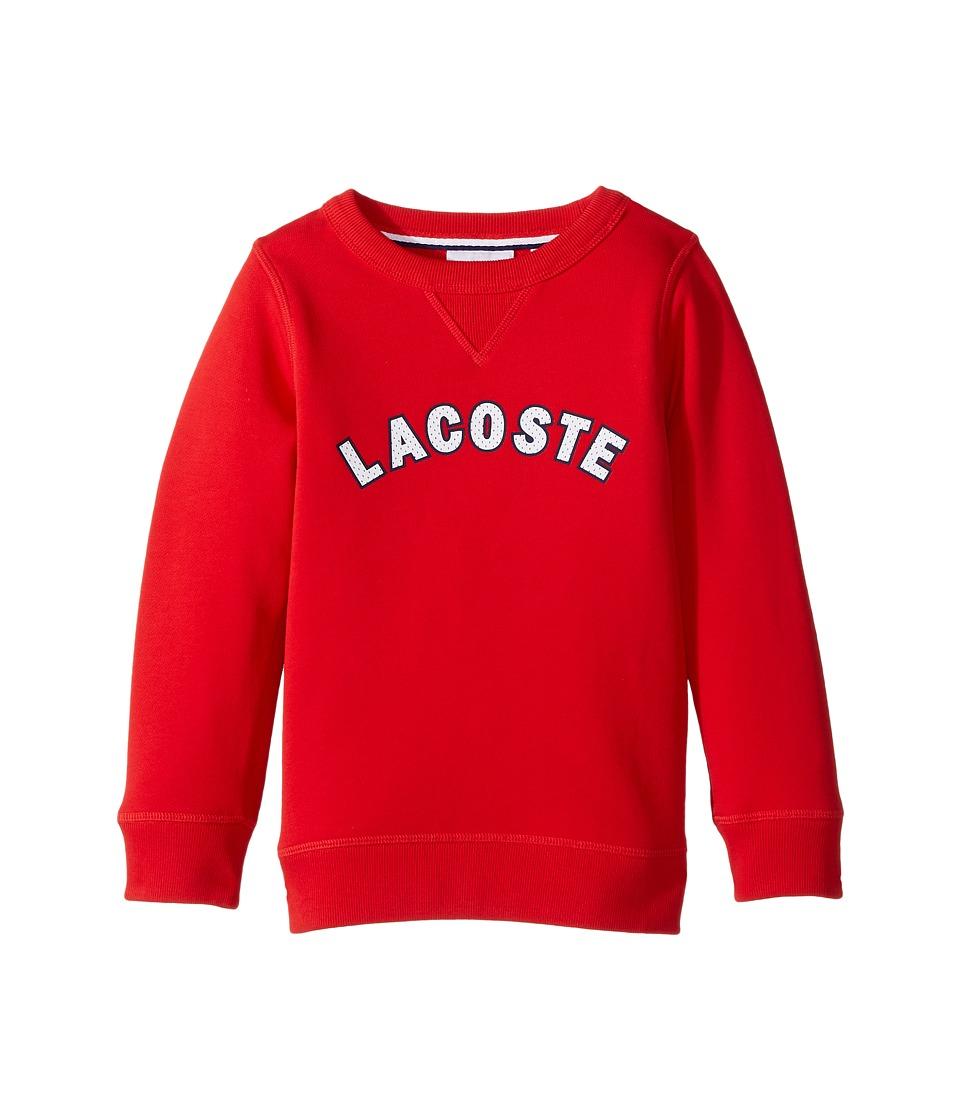 Lacoste Kids - Crew Neck Fleece w/ Logo (Toddler/Little Kids/Big Kids) (Grenadine) Boy's Sweatshirt