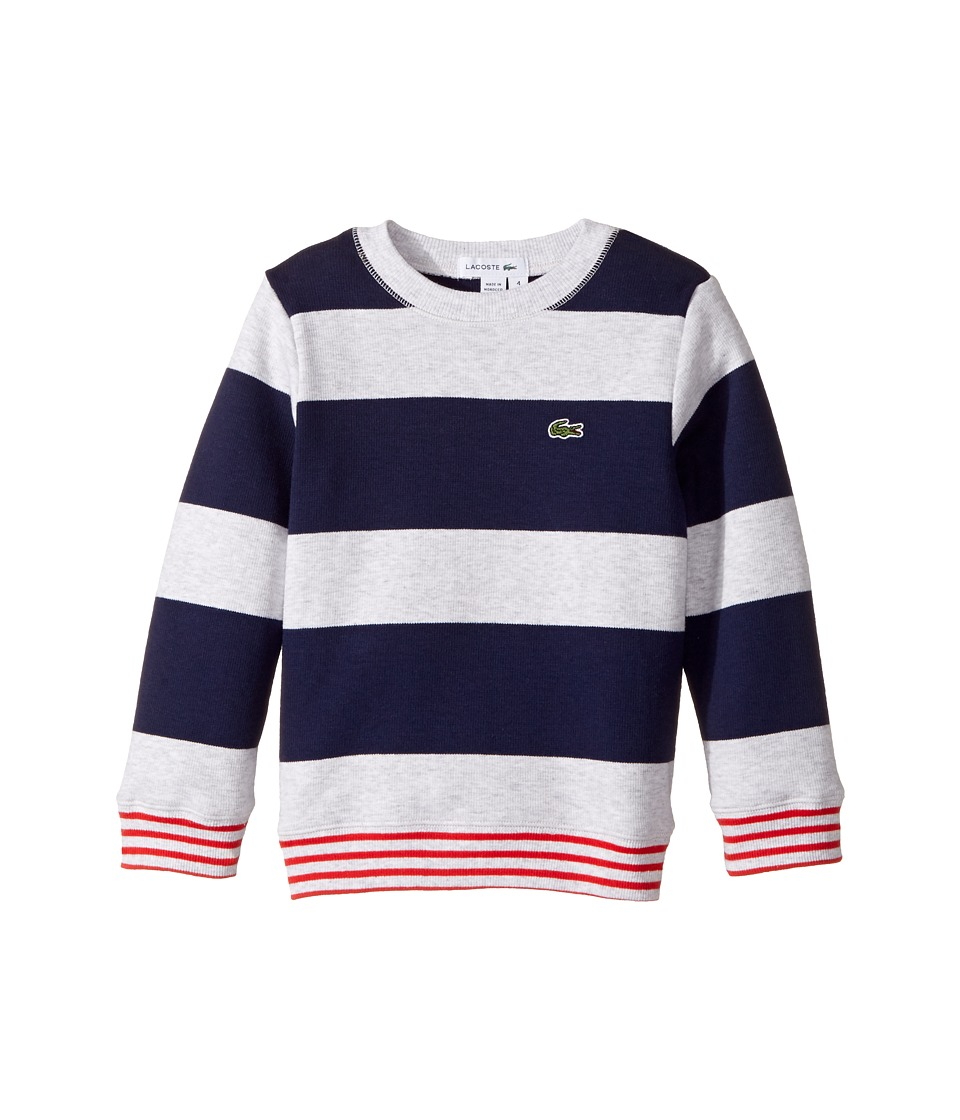Lacoste Kids - Crew Neck Stripe Sweater (Toddler/Little Kids/Big Kids) (Penumbra/Dust Chine/Grenadine) Boy's Sweater