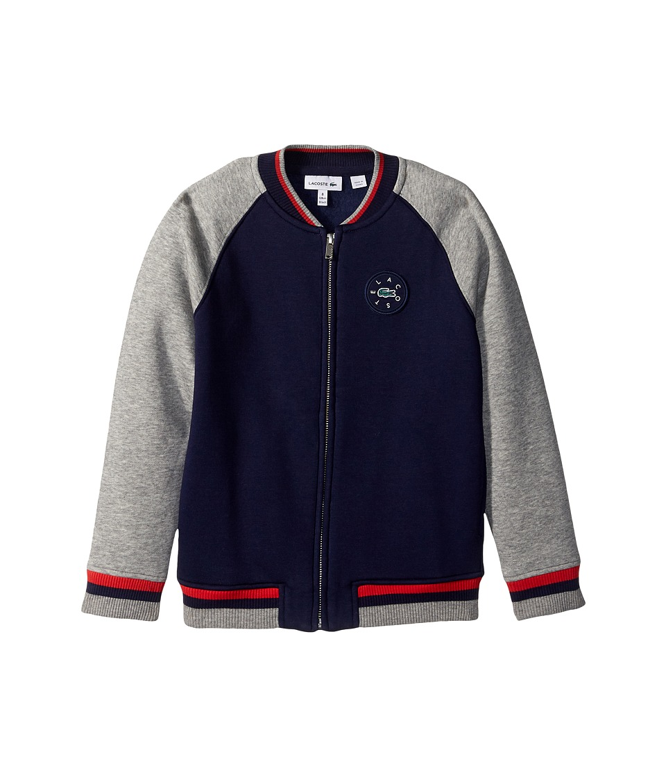 Lacoste Kids - Full Zip Varsity Fleece (Toddler/Little Kids/Big Kids) (Penumbra/Aluminium Grey Chine) Boy's Sweatshirt