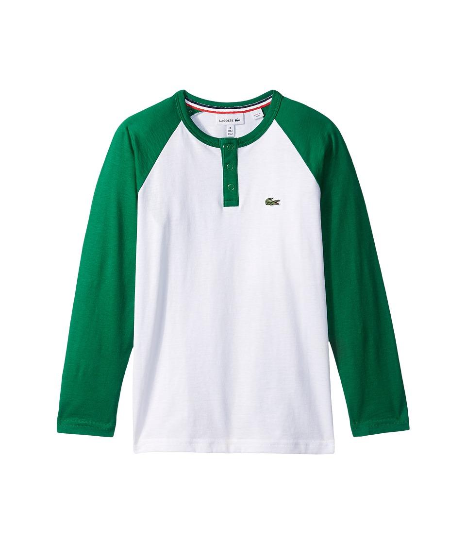 Lacoste Kids - Long Sleeve Baseball Color Block Tee (Little Kids/Big Kids) (White/Summer) Boy's T Shirt