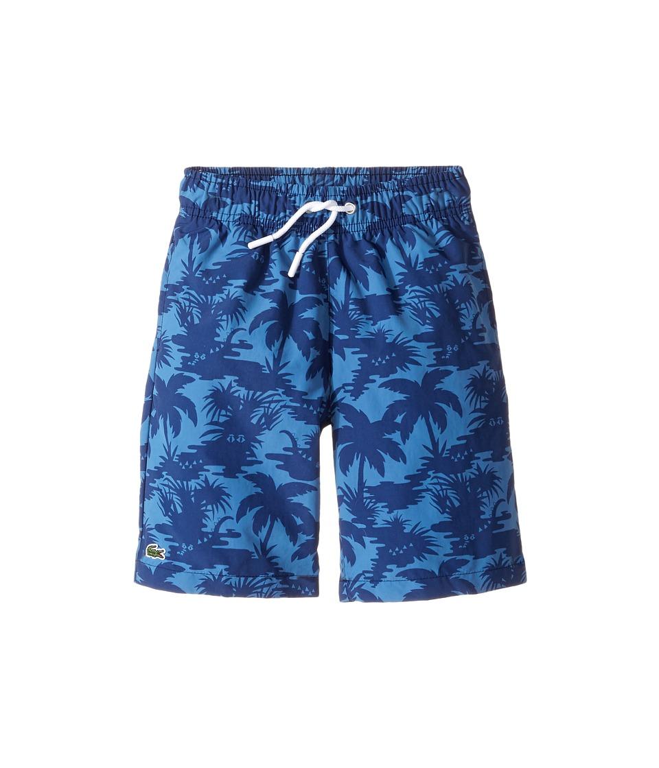Lacoste Kids - Palm Tree Print Swimsuit (Little Kids/Big Kids) (Penumbra/Columbine) Boy's Swimwear