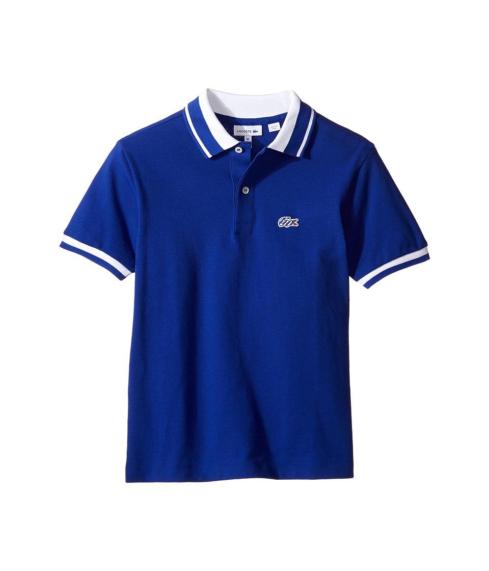 Lacoste Kids - Short Sleeve Candy Stripe Croc Polo (Infant/Toddler/Little Kids/Big Kids) (France/White) Boy's Short Sleeve Pullover