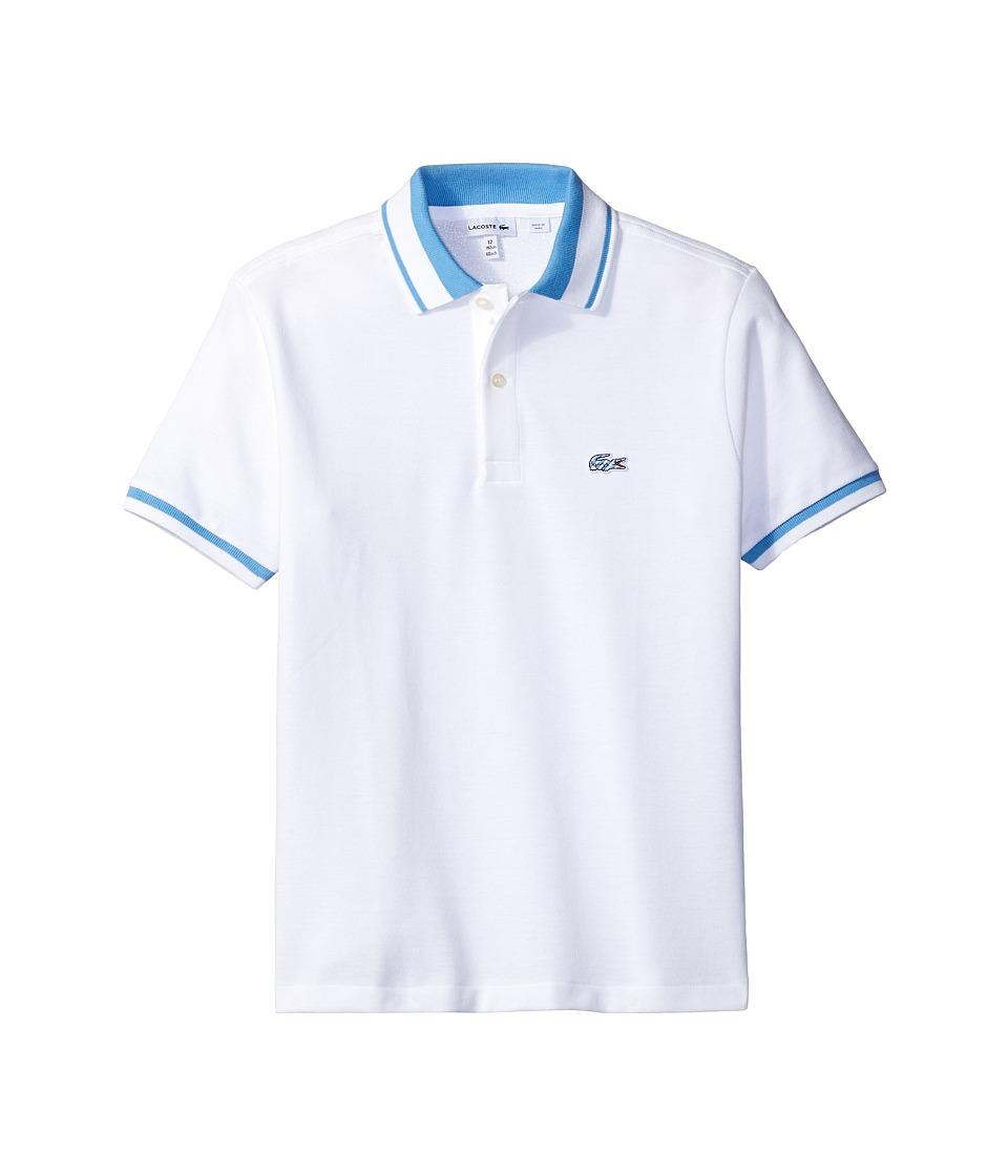 Lacoste Kids - Short Sleeve Candy Stripe Croc Polo (Infant/Toddler/Little Kids/Big Kids) (White/Columbine) Boy's Short Sleeve Pullover