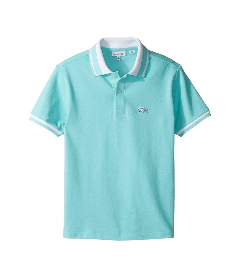 Lacoste Kids - Short Sleeve Candy Stripe Croc Polo (Infant/Toddler/Little Kids/Big Kids) (Eden/White) Boy's Short Sleeve Pullover