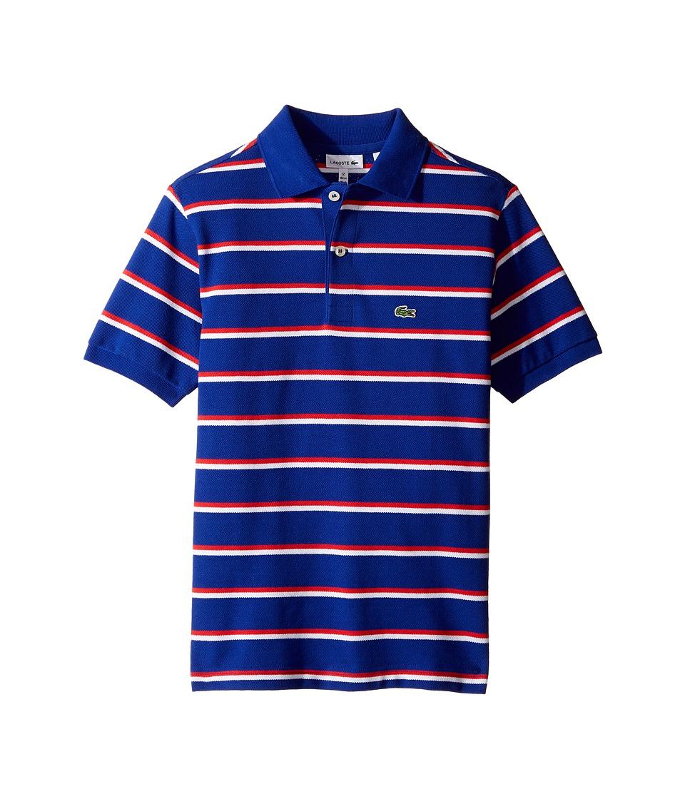 Lacoste Kids - Short Sleeve Fine Stripe Pique Polo (Toddler/Little Kids/Big Kids) (France/White/Grenadine) Boy's Clothing