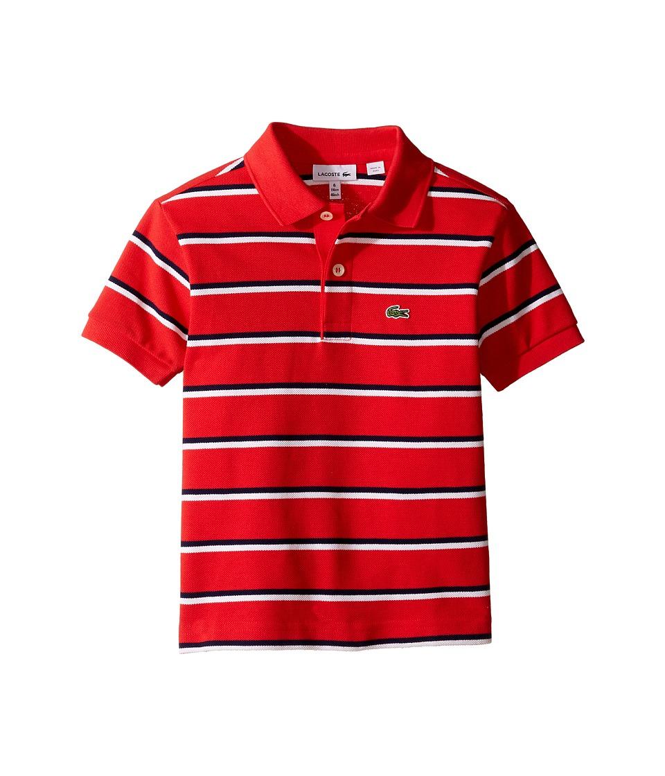 Lacoste Kids - Short Sleeve Fine Stripe Pique Polo (Toddler/Little Kids/Big Kids) (Grenadine/White/Penumbra) Boy's Clothing