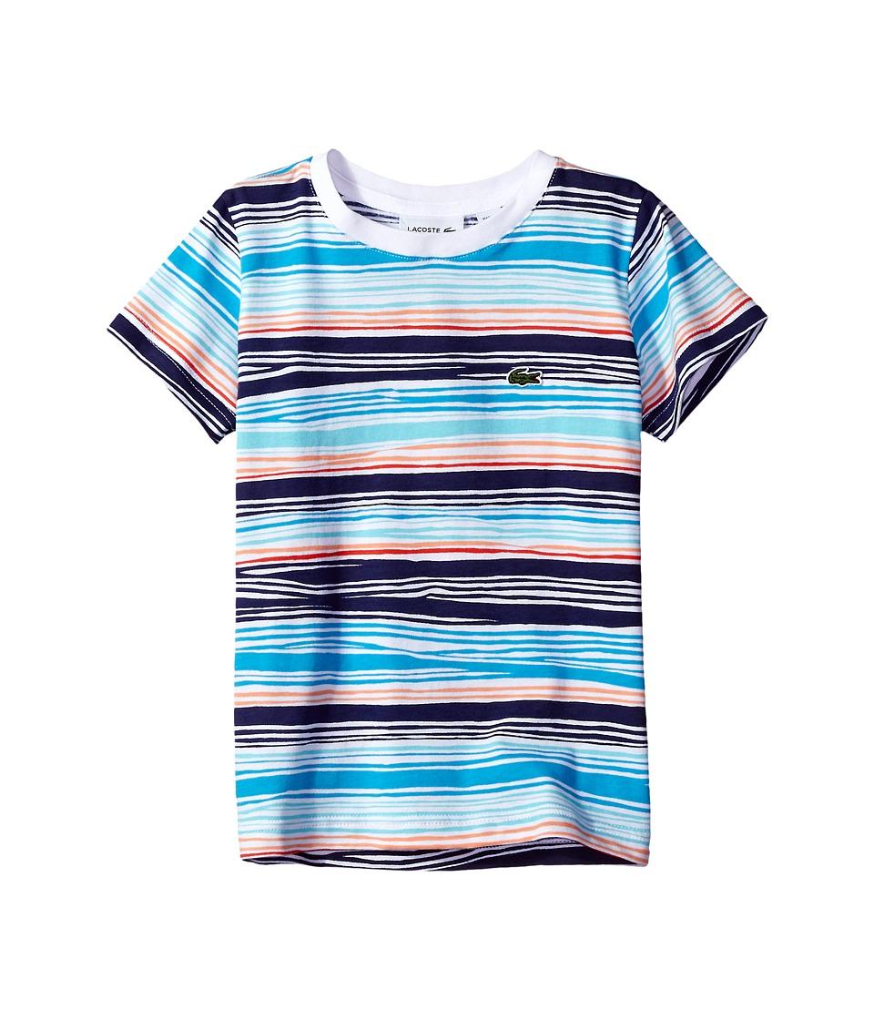 Lacoste Kids - Short Sleeve Irregular Stripe Tee (Little Kids/Big Kids) (Multicolor) Boy's T Shirt