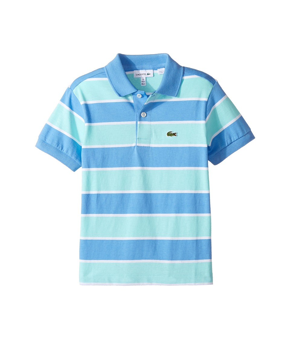 Lacoste Kids - Short Sleeve Jersey Stripe Polo (Infant/Toddler/Little Kids/Big Kids) (Columbine/White/Eden) Boy's Short Sleeve Pullover