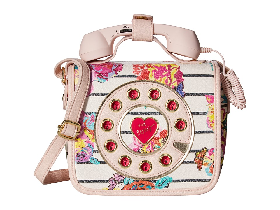 Betsey Johnson - Mini Phone Crossbody (White Floral) Cross Body Handbags