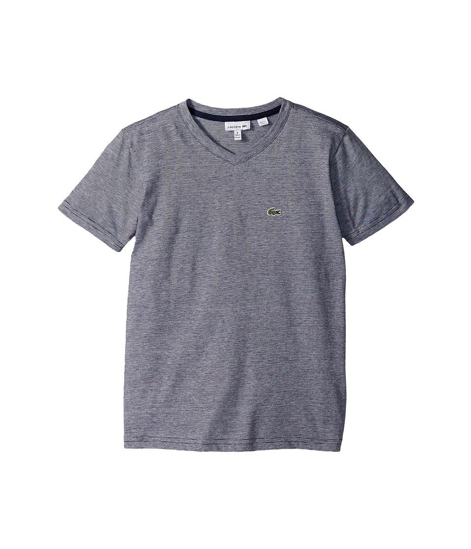 Lacoste Kids - Short Sleeve V-Neck Stripe Tee (Toddler/Little Kids/Big Kids) (Navy Blue/White) Boy's T Shirt