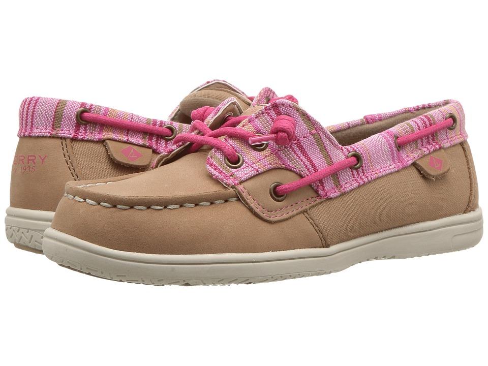 Sperry Kids - Shoresider 3-Eye (Little Kid/Big Kid) (Linen/Pink) Girl's Shoes