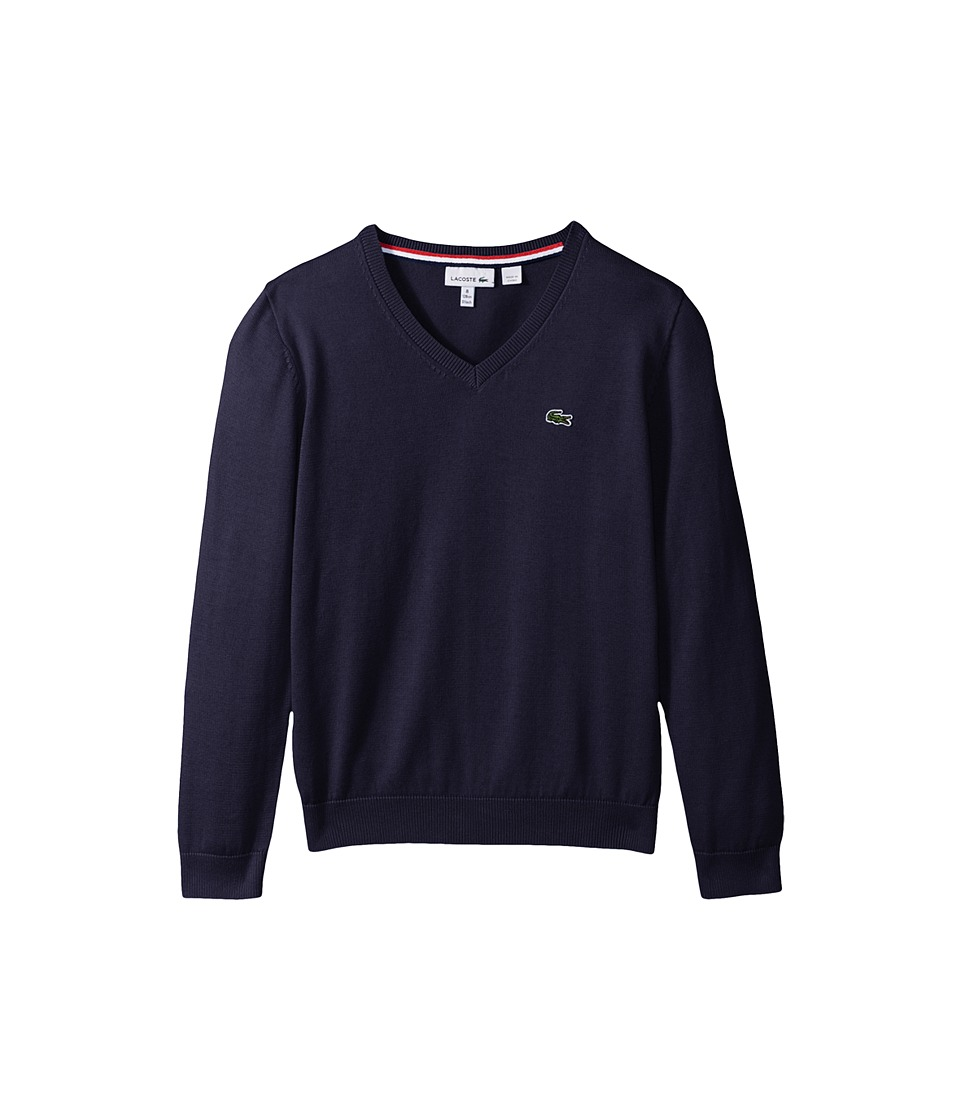 Lacoste Kids V-Neck Cotton Sweater (Toddler/Little Kids/Big Kids) (Penumbra) Boy