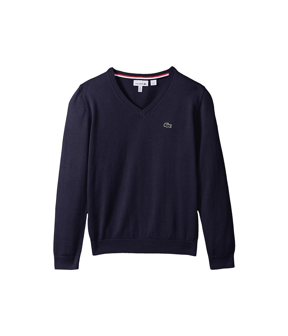 Lacoste Kids - V-Neck Cotton Sweater (Toddler/Little Kids/Big Kids) (Penumbra) Boy's Sweater